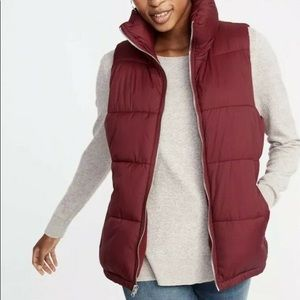 OLD NAVY Fleece Lined Zip Up Puffer Vest Royal Red